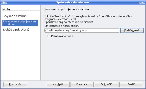 Sprievodca databázou – krok 2 - pripojenie súboru