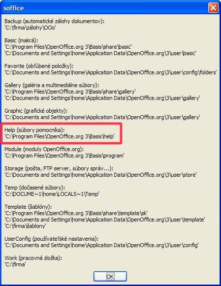 Vyhľadanie cesty k súborom pomocníka pomocou rozšírenia  JP_cesty_ooo.oxt v OS windows