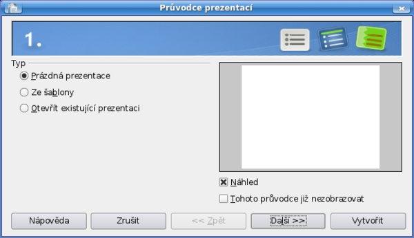 Průvodce prezentací – typ prezentace