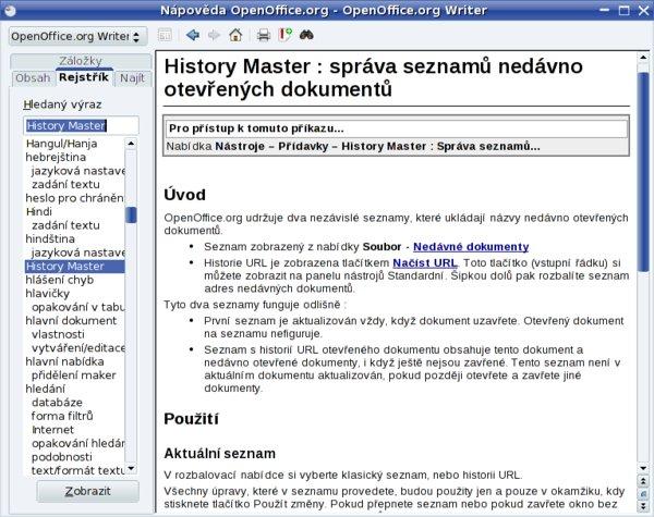 Popis History Master najdete i v nápovědě OpenOffice.org