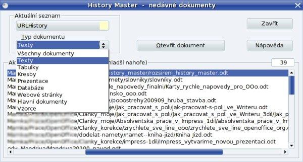 Z rozbalovacího okna Typ dokumentů si můžete vybrat potřebný typ souborů