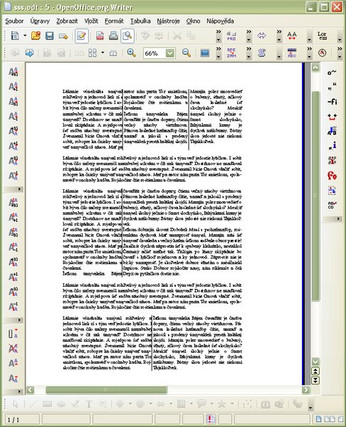 Náhľad na dokument s piatimi rôznymi sekciami