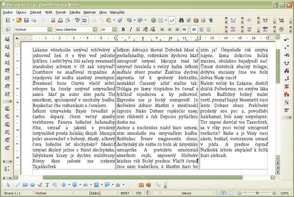 Automatické rozdelenie textu v sekcii s tromi stĺpcami