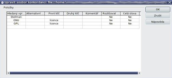 Okno s položkami rejstříkového seznamu