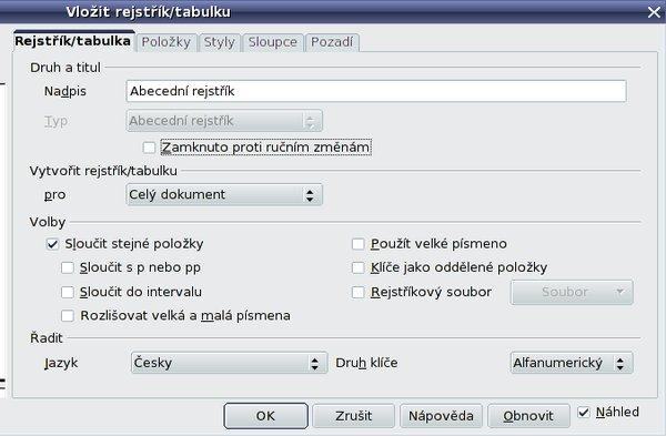 Karta Rejstřík/Tabulka