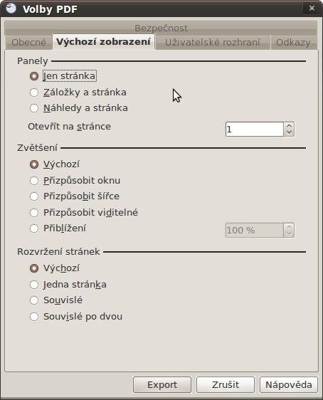 Volby PDF – Výchozí zobrazení