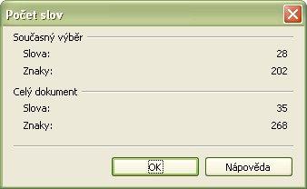 Štandardné počítadlo znakov OpenOffice.org