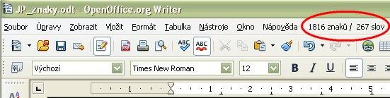 Zobrazené údaje o počte znakov a slov v menu OpenOffice.org Writer v českej lokalizácii