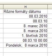Rôzne formáty dátumu