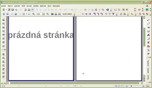 Automatická prázdna strana v dokumente