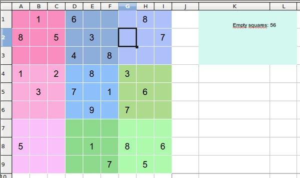 Ukázka Sudoku v Calcu
