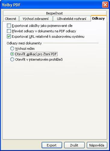 Nastavenie parametrov pre export do PDF