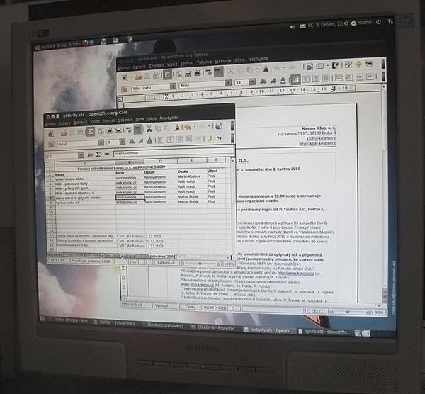 Využití OpenOffice.org na počítači jednoho z členů klubu