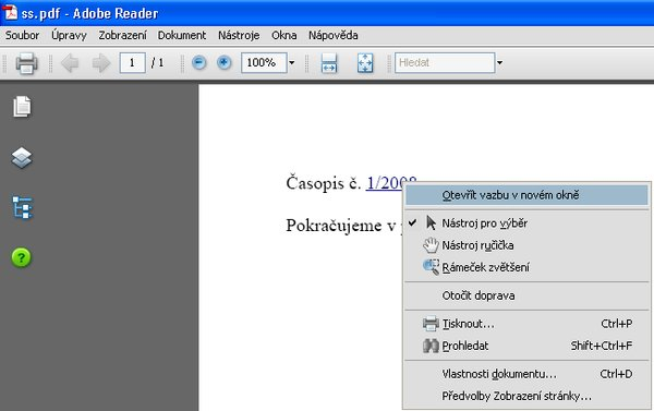 Exportovaný PDF dokument s hypertextovým odkazom