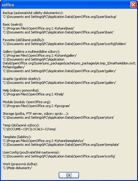 Zoznam pracovných ciest vo Windows XP