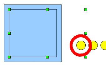 Obrázek 8: Výběr dvou objektů (pomocného čtverce a prvního oka)