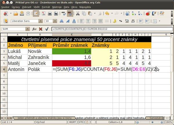 Podmíněné formátování a vzorec pro výpočet průměru