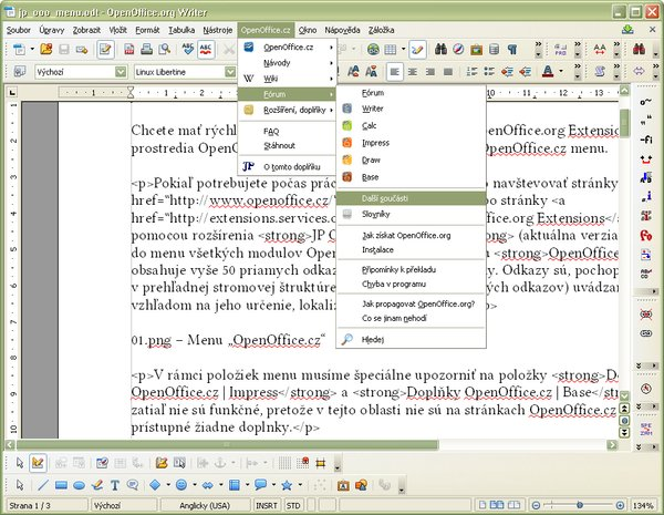 "Menu ""OpenOffice.cz"""