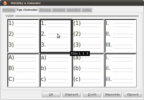 Odrážky a číslování | Typ číslování
