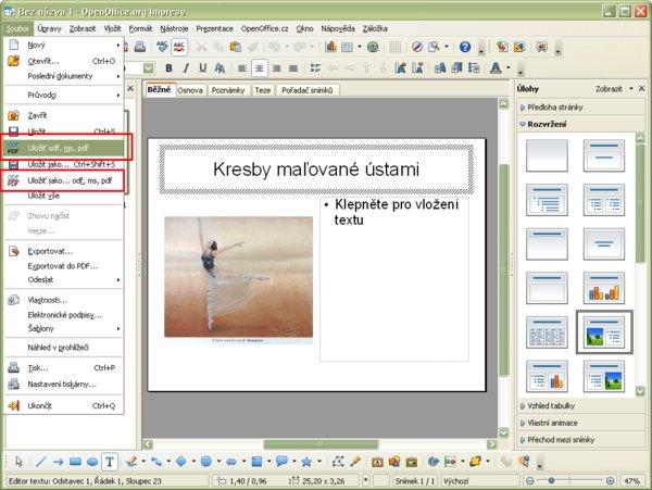 """Nové položky """"Uložiť odf, ms, pdf"""" a """"Uložiť ako odf, ms, pdf"""" v menu """"Súbor"""""""