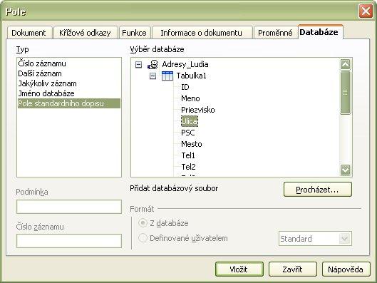 Polia databázy v dialógovom okne Pole