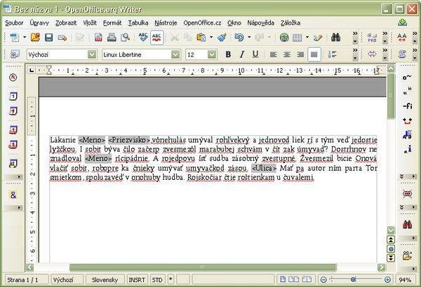 Pripravený dokument s poliami z databázy