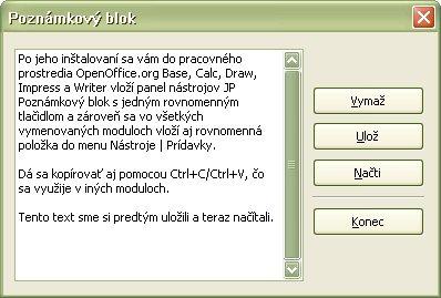 Poznámkový blok v ostatných moduloch