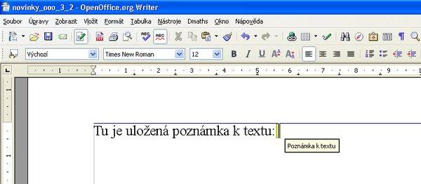Poznámka v texte vo verzii OpenOffice.org 2.4.1