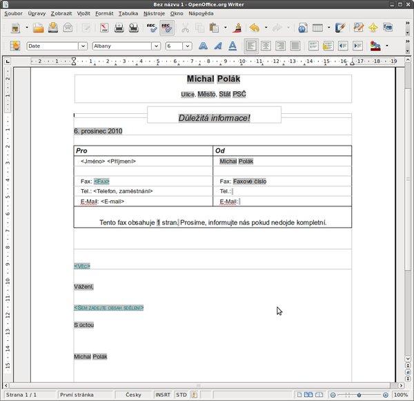 Hotová šablona faxu