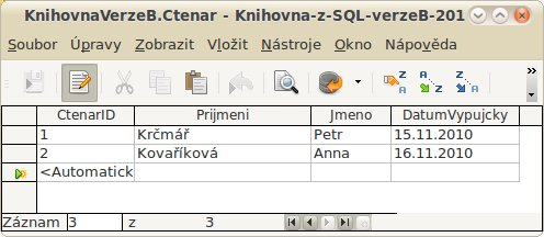 "Data pro tabulku Ctenar, verze ""B"""