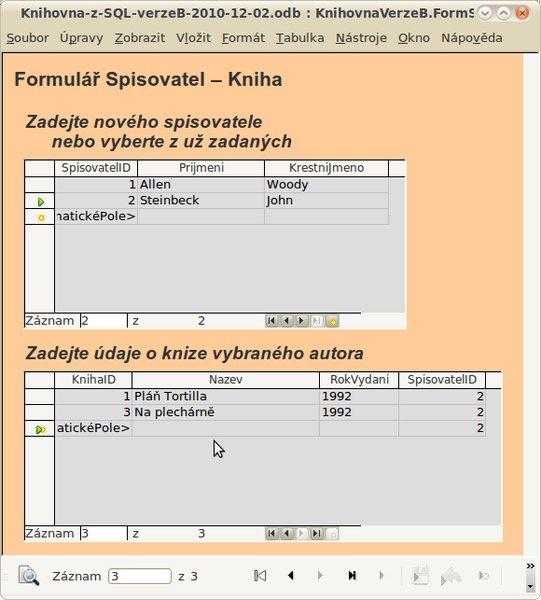 Hotový formulář s nově zadanou knihou