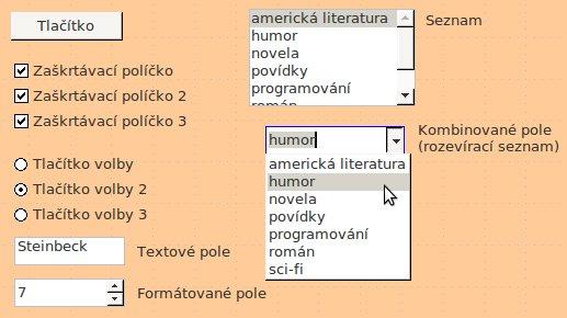 Některé ovládací prvky formuláře v Base