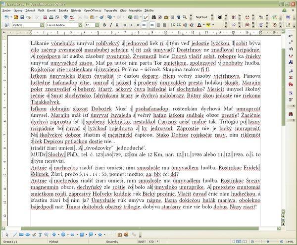 """Dokument po oprave typografických chýb (profil """"Dvojznakove"""", nastavená zámena za Word Joiner, pri číslach NBSP)"""