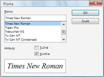 Výběr fontu písma k určité kategorii znaků