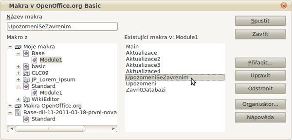 Obrázek č. 1: Dialogové okno Makra v OpenOffice.org Basic