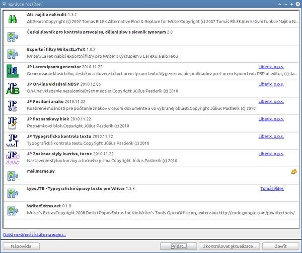 Správce rozšíření OpenOffice.org 3.2.1