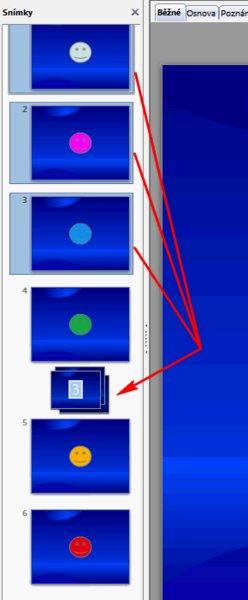 Při přesunu snímků jste informováni o počtu přesouvaných snímků a jejich umístění do nové lokace není již takový problém.