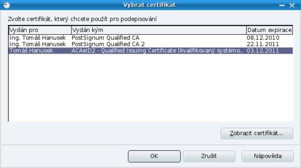 Seznam certifikátů elektronických podpisů použitelných k podepsání dokumentu