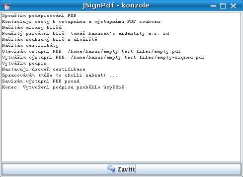 Informační dialog po podepsání PDF
