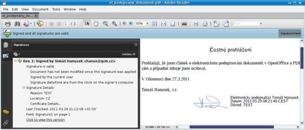 Potvrzení platnosti elektronického podpisu u PDF v Adobe Readeru, Linux