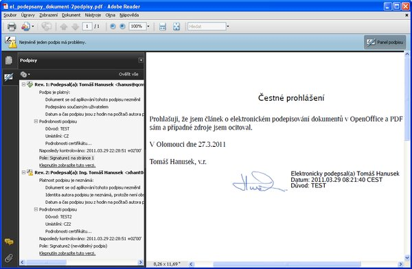 Neověřený elektronický podpis u PDF v Adobe Readeru, Windows