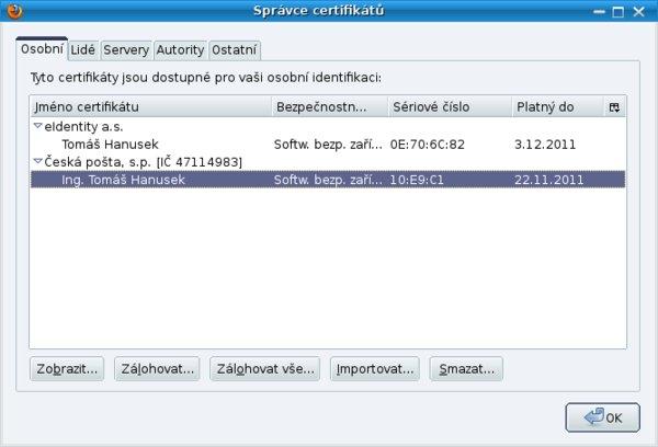 Správce certifikátů v Mozille