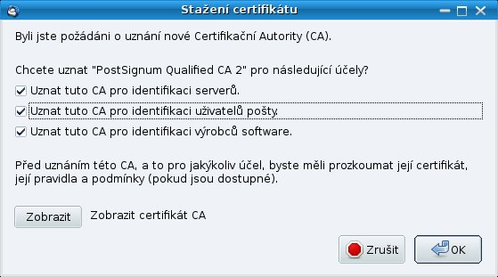 Dialog pro nastavení účelů uznávání při instalaci certifikátu certifikační autority