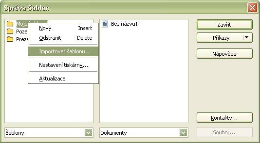 Výber funkcie pre import šablóny do zoznamu šablón