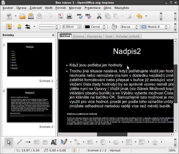 Rozdíl mezi textem rovnou nakopírovaným a nakopírovaným do již připraveného textového pole (nahoře; formát nastavený v Předloze