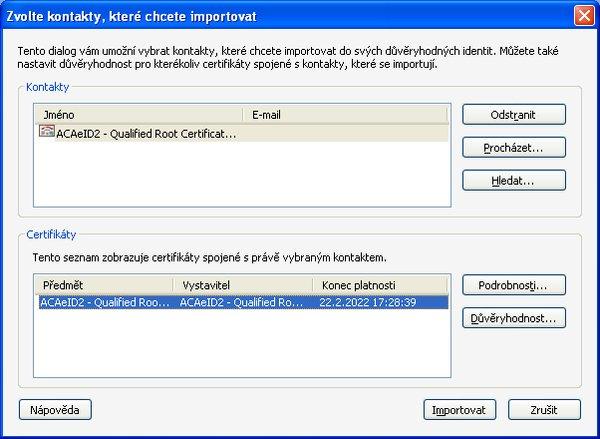 Dialog pro import certifikátu v Adobe Readeru