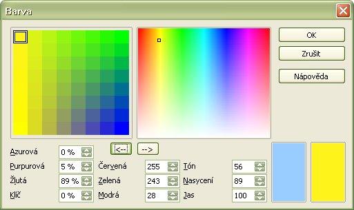 Zmena zobrazenia ľavej farebnej škály