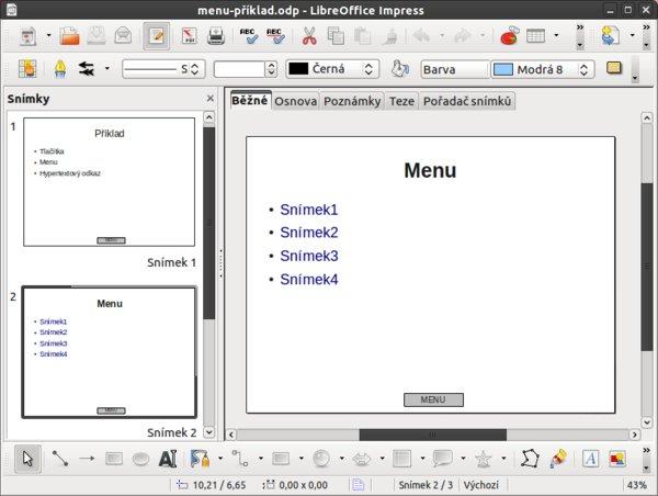 První varianta menu