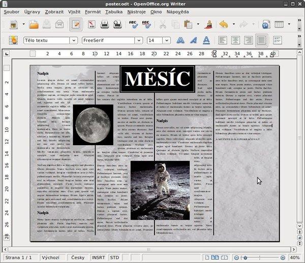 I ve Writeru lze vytvořit pěkný plakát s využitím sloupců
