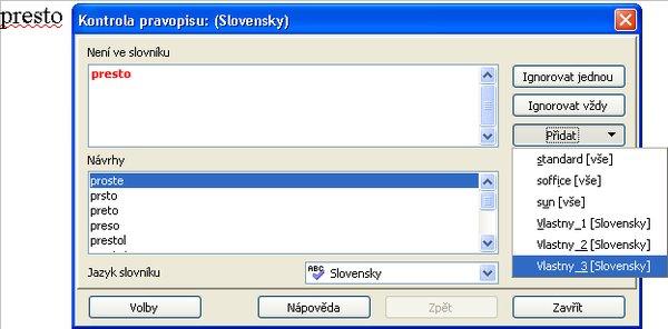 Vkladanie slovíčka pri kontrole pravopisu